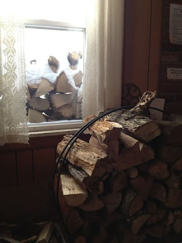 wood stacked and ready for the winter ski season...