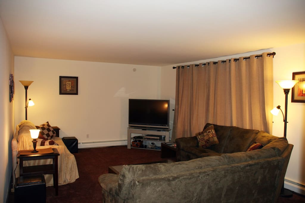 Comfy living room with big screen cable TV, DVD/VHS player, and PS2 console with games
