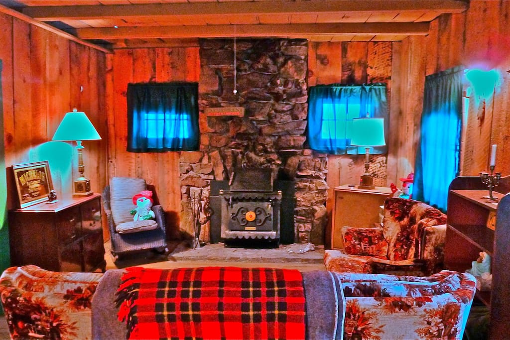 The stone fireplace in the living room houses a wood-burning Earth Stove.