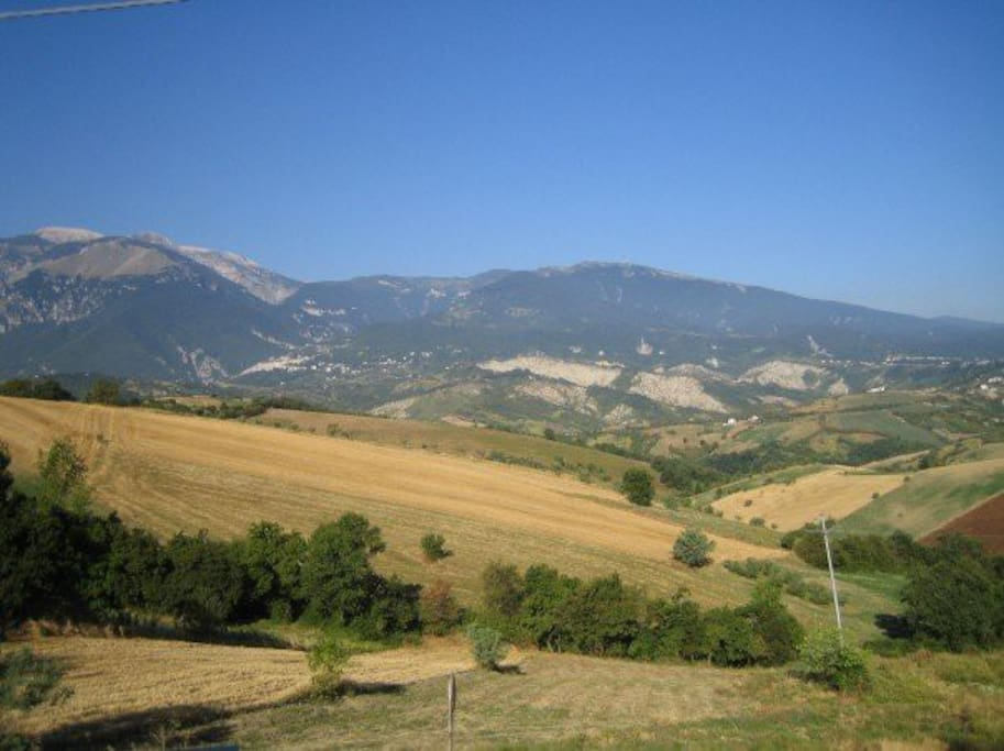 View from lounge window of the Maiella range of mountains and Guardiagrele