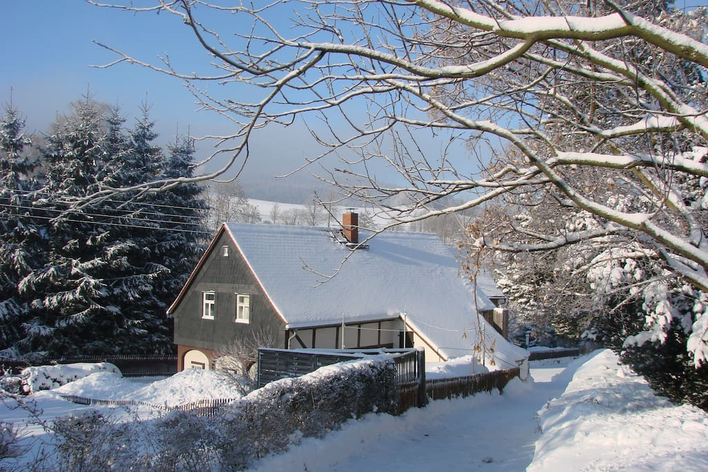 Backside of the house in the winter