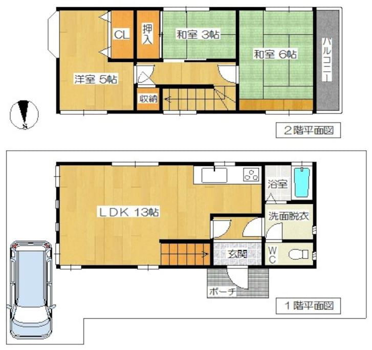 間取りはこんな感じです。2階の洋室5畳・和室3畳は使えません。