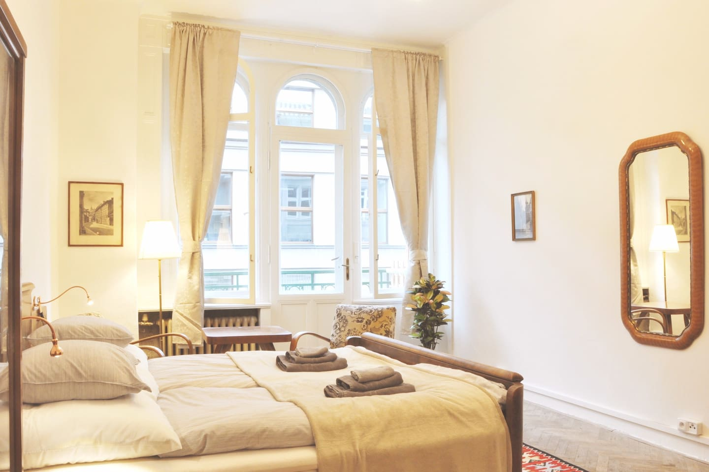"""Enjoy historic apartment with huge bedroom at real heart of Prague. High speed Wi-fi, Netflix TV 40"""", washer/dryer, espresso and historical furniture. Bathroom completely private, but accessible through shared hall with entrance to two other flats."""