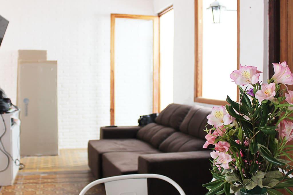 Área común: living con sofá y tv