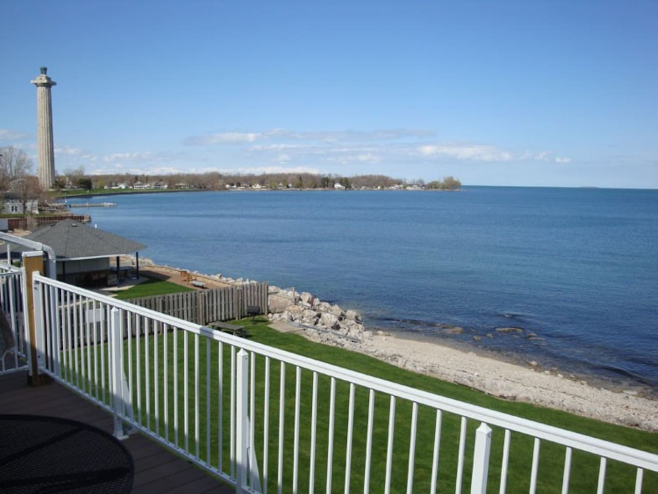 The view from the deck includes the impressive monument to the American victory in the Battle of Lake Erie.