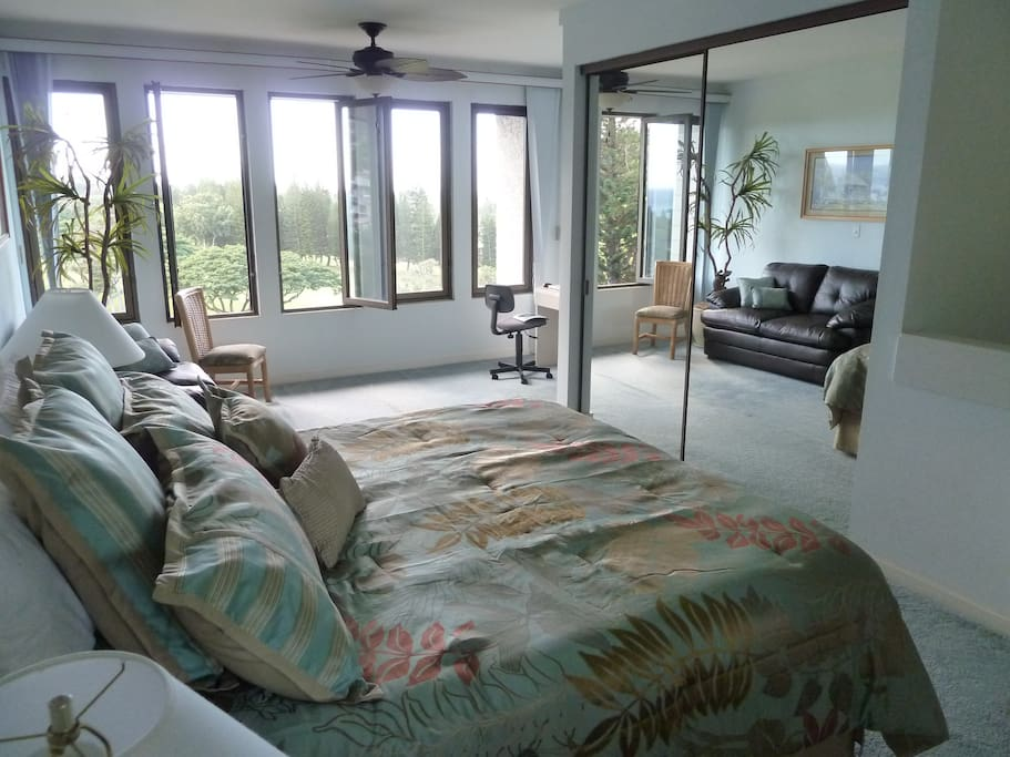 Spacious and private upstairs bedroom with new King Size bed, flatscreen HDTV, and views, views, views