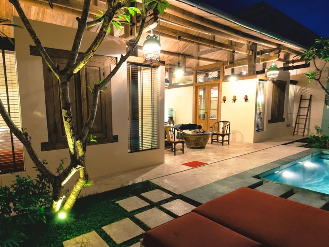 Shikumen Villa with private swimming pool, Bedroom 1 to the left, Bedroom 2 to the right. A 3rd bedroom is optional.