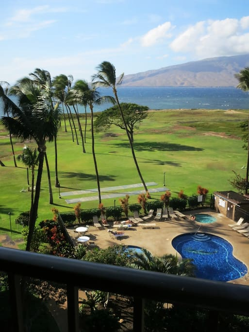 View from apartment.  In front of you are West Maui mountains and  Maalea Bay where whales frequently swim by