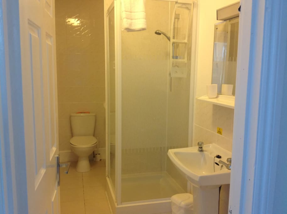 Fully fitted bathroom with electric shower, toilet, basin and shaving point.