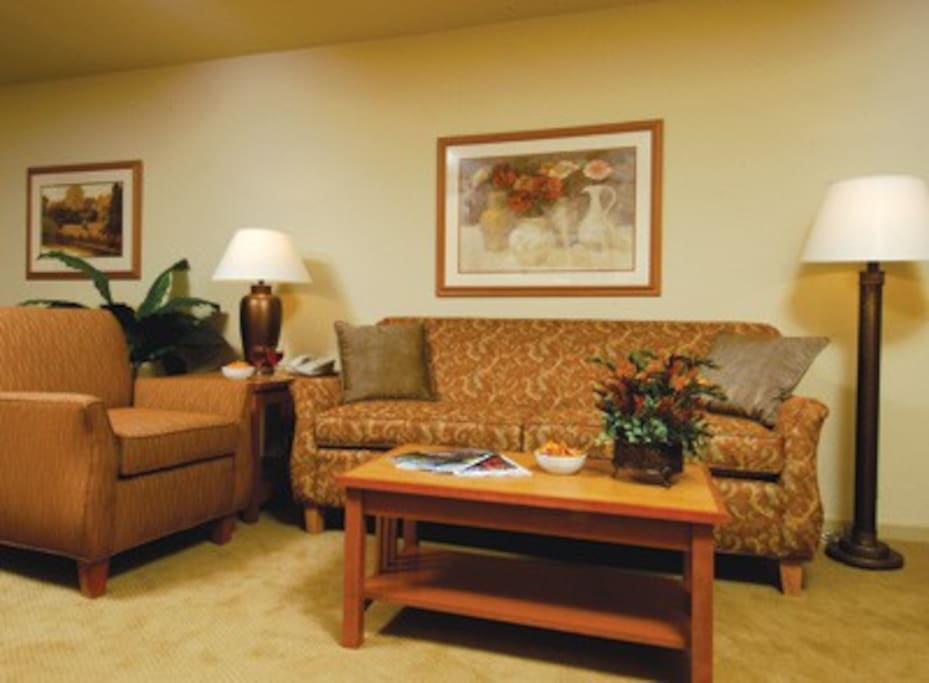 Living area of a 1, 2 or 3 bedroom condo.  This is not unit specific and only denotes style and decor of all the units.