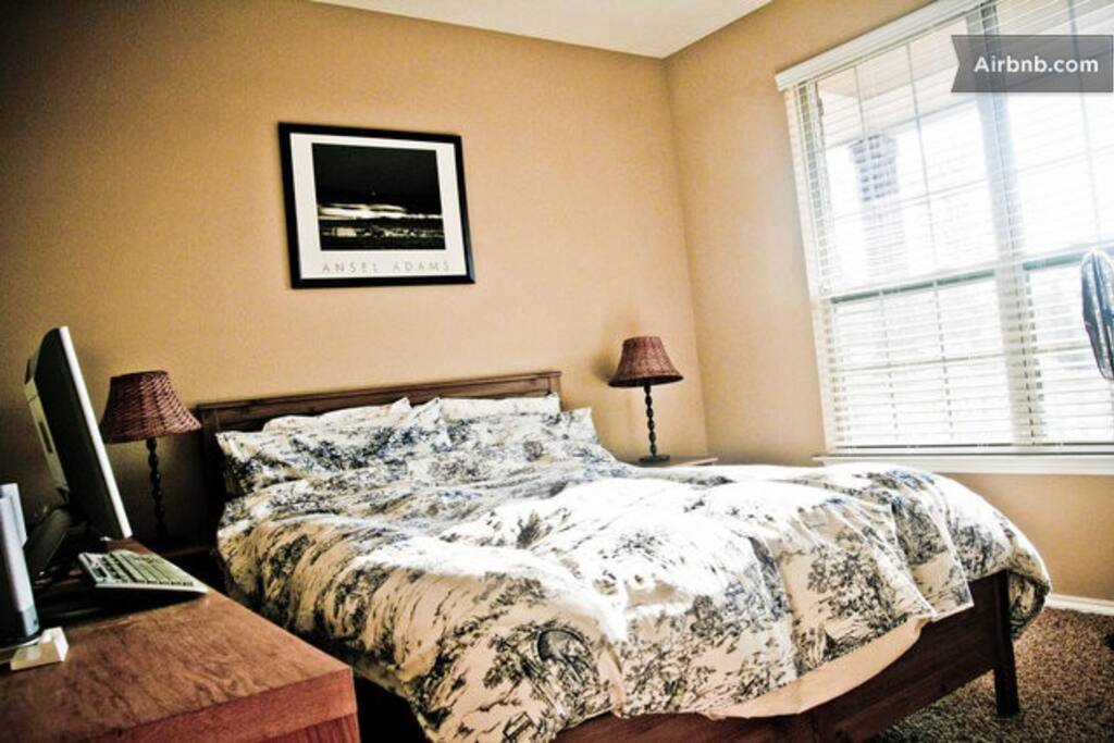 Queen size memory foam bed (downstairs)