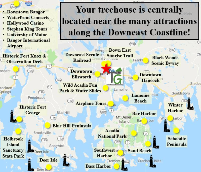 Your treehouse is centrally located near the many attractions along the Downeast Coastline!