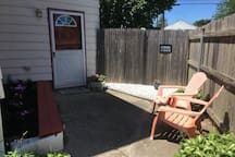 Small patio area available with seating.  Extra chairs available upon request.