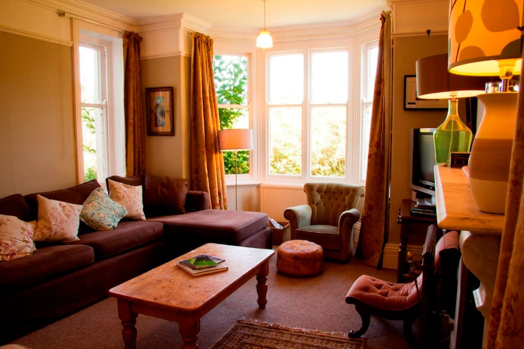 Spacious sitting room with a log fire and big television.