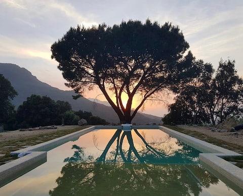 Chambre climatisée dans villa avec piscine privée