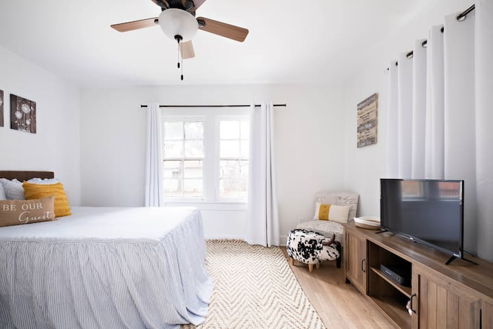 Master bedroom with Roku TV.  And plan to get a comfy night's sleep on the new Purple mattress