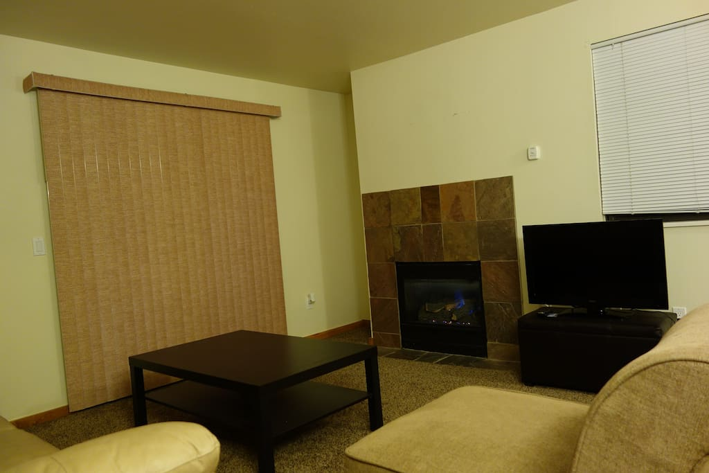 Another view of the Living Room with fireplace and outdoor patio through the blinds