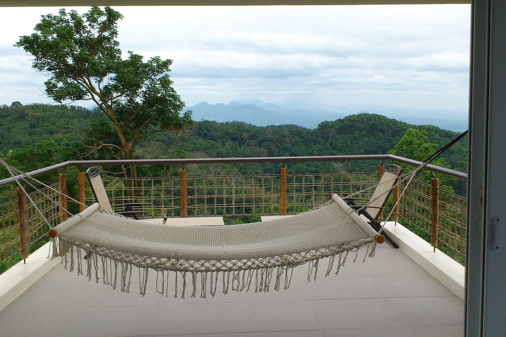 View deck on the third floor loft. Best spot in the house (hammock being repaired)