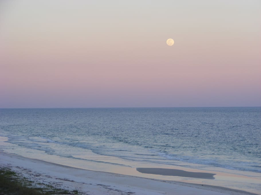 Full moon at low tide