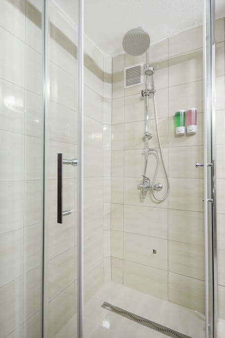 Shower cabin in the room