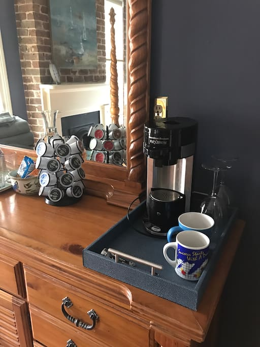 In room beverage station complete with complimentary coffee and tea to ensure your morning is off to a great start. A small fridge is located in the room as well.
