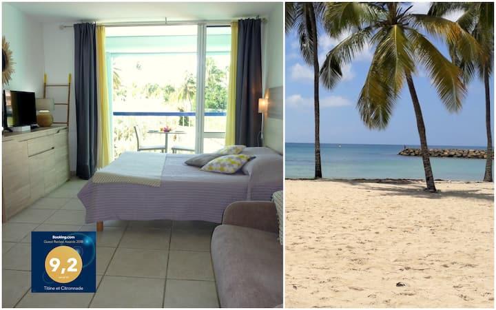 Beau studio, vue superbe plage avec accès direct.