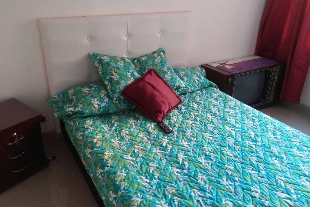 """Habitación , """" DOUBLE BED""""  baño privado , cuarto closet , nevera minibar, televisor, DVD"""