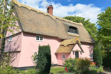 Enchanted Suffolk Pink Thatched Cottage