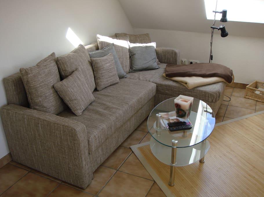 Ausklappbare Couch im Wohnbereich mit TV.