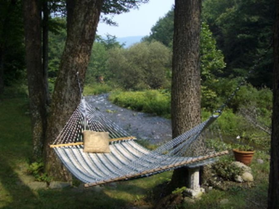 relax in a hammock next to a stream