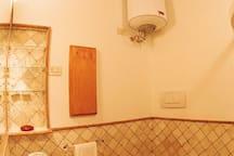 Bathroom made of travertine marble
