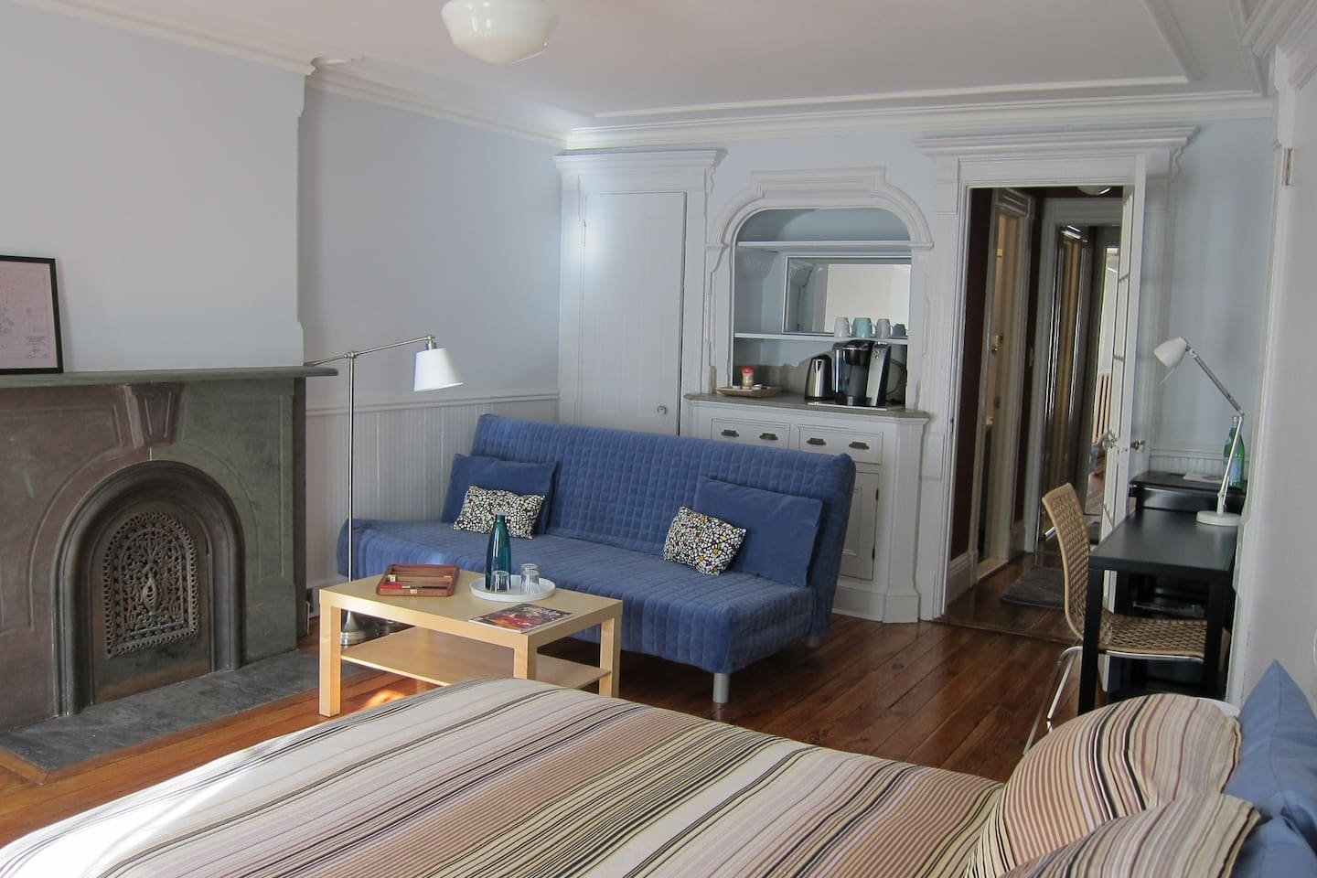 Large suite with bed, desk and sitting area.  Separate en suite dressing area and bath.