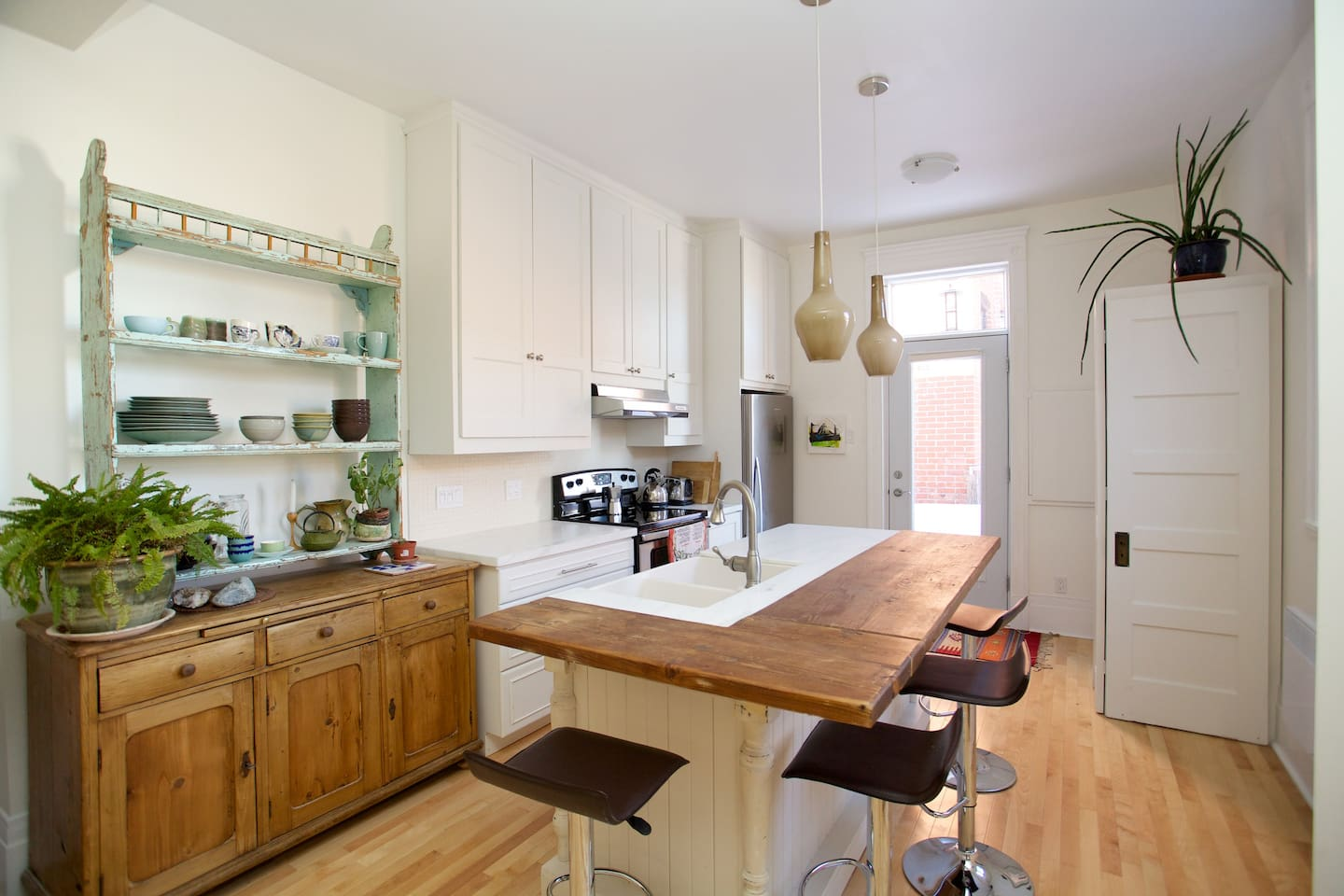 Bright and beautiful newly renovated kitchen with new electrical appliances