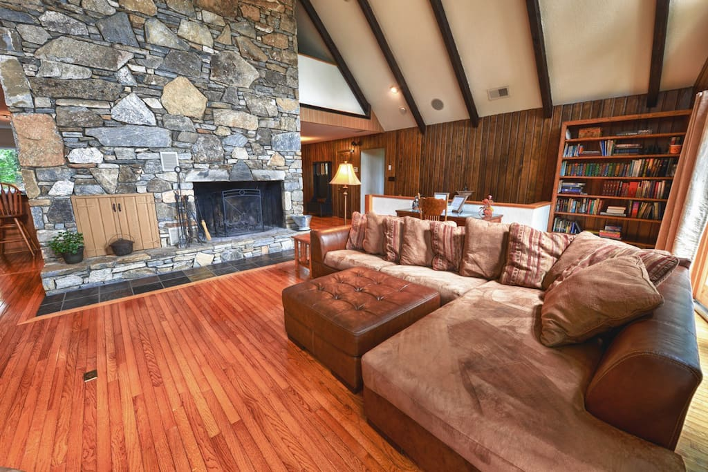 Spectacular stone wood burning fireplace