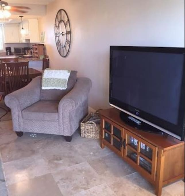 "50"" Flatscreen TV in Living Room"