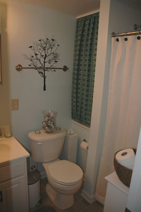 Private bathroom with Shower, right across the hall from your bedroom. Spa like colors create a tranquil setting.