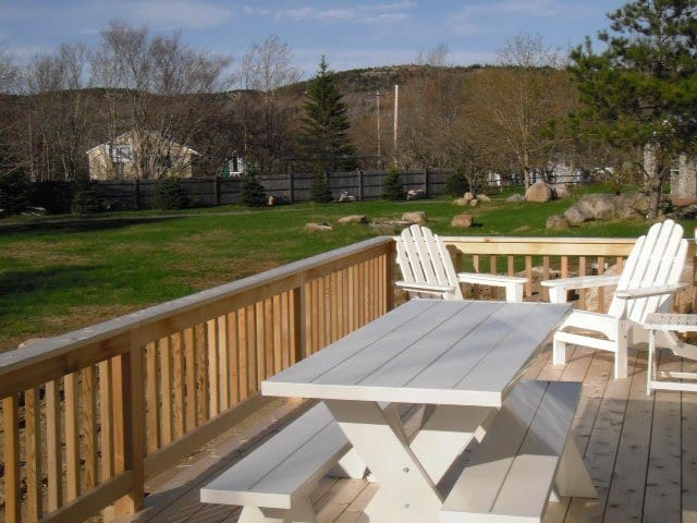 Enjoy relaxing on our sunny deck while surrounded with views of Dorr, Cadillac and Champlain Mts