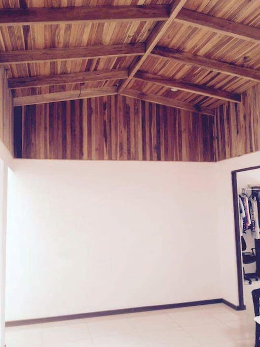 warm wood ceiling, made out of native elm trees