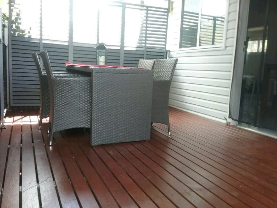 Outside setting. Relax eat your meals on your private deck