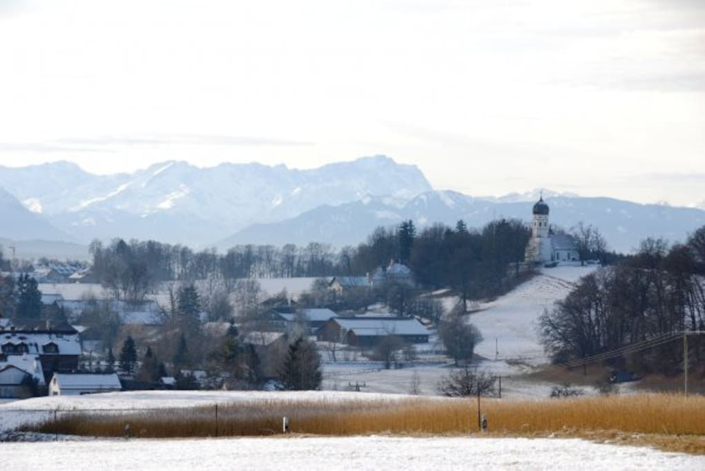 Holzhausen with Zugspitze in wintertime