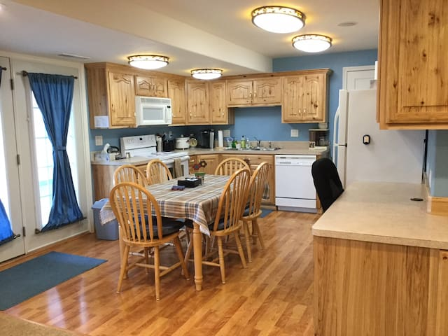 Kitchen is well equipped with Keurig (complementary K-cups), tea kettle (complementary tea), stove/oven, microwave, dishwasher, refrigerator, crock-pot slow cooker, toaster,  cookware, tableware, & spice rack to make your stay a home away from home.
