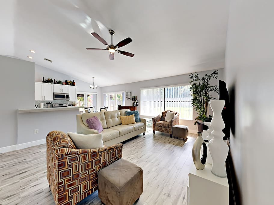 The newly remodeled, stylishly furnished living room offers a fantastic spot to stretch out and enjoy face time with your favorite people.