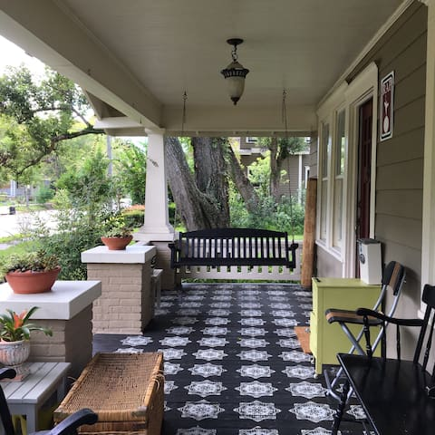 Front porch with swing and lots of seating