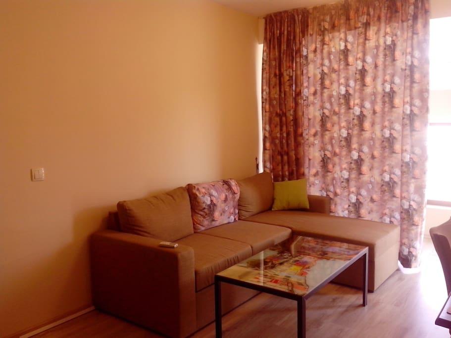Sitting room with double sleep sofa, TV, dining table and chairs Гостиная с двуспальным угловым диваном, телевизором, кухонным уголком, обеденным столом и стульями