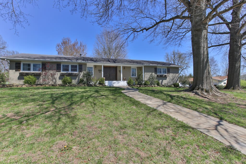 One level ranch style home on a corner lot