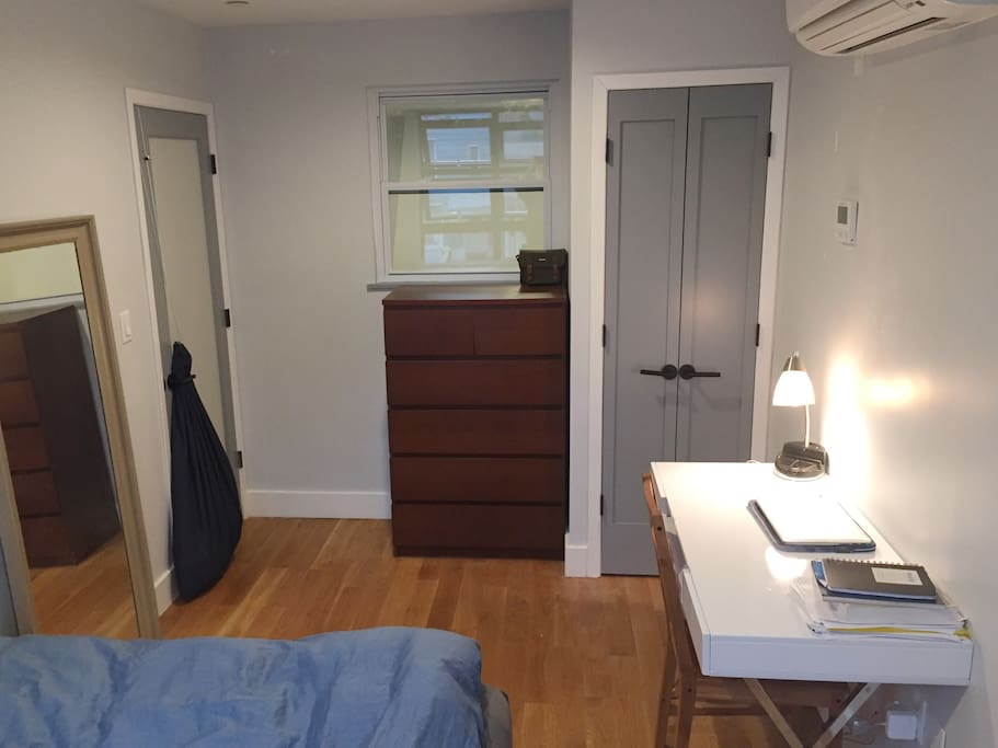 Fully furnished with a desk, full-length mirror, closet, and dresser!