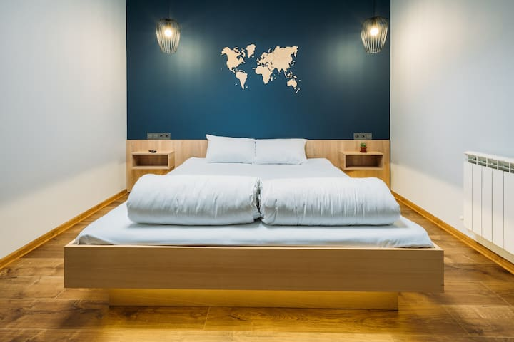 Blue Double bed room at Yard Hostel & Coffee