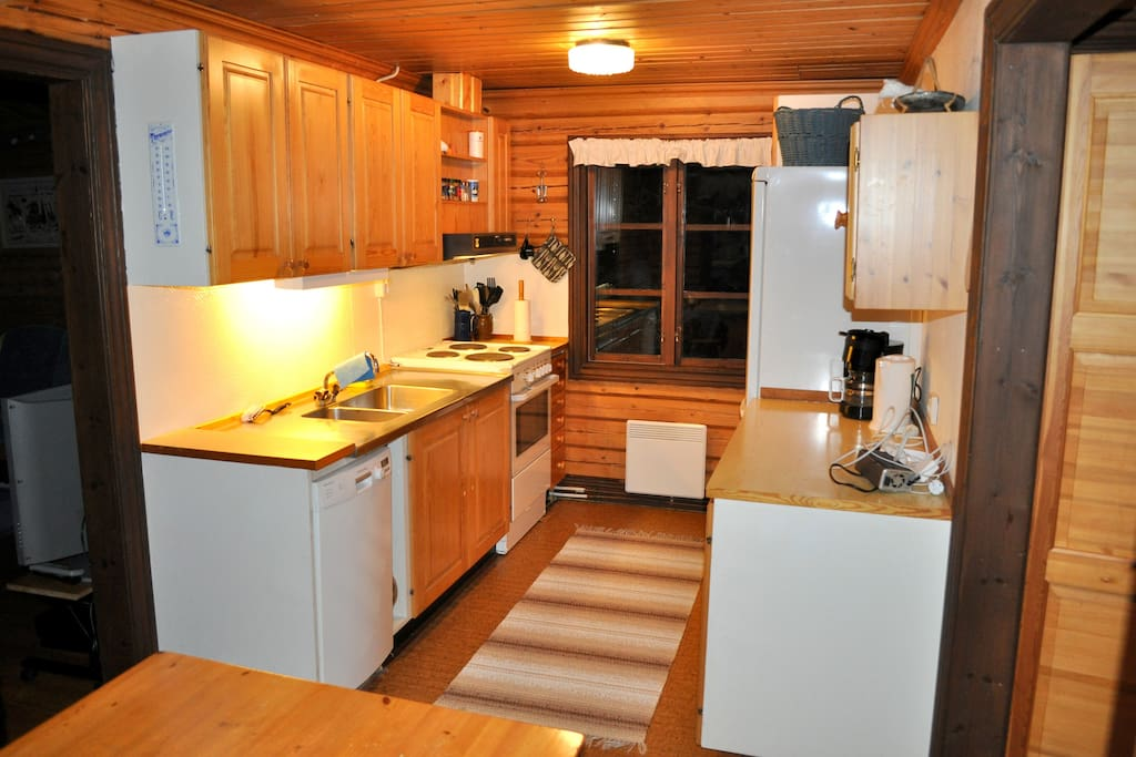 NOTE! A brand new kithcen is being installed now and will be ready december 10th, 2018. So this picture is old) Anyway the kitchen has everything, + Owen + microwave, fridge, freezer, dishwasher plus everything else you need!