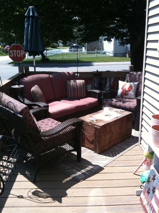 Wonderful Sun Filled Porch with comfotable, overstuffed furniture and water feature