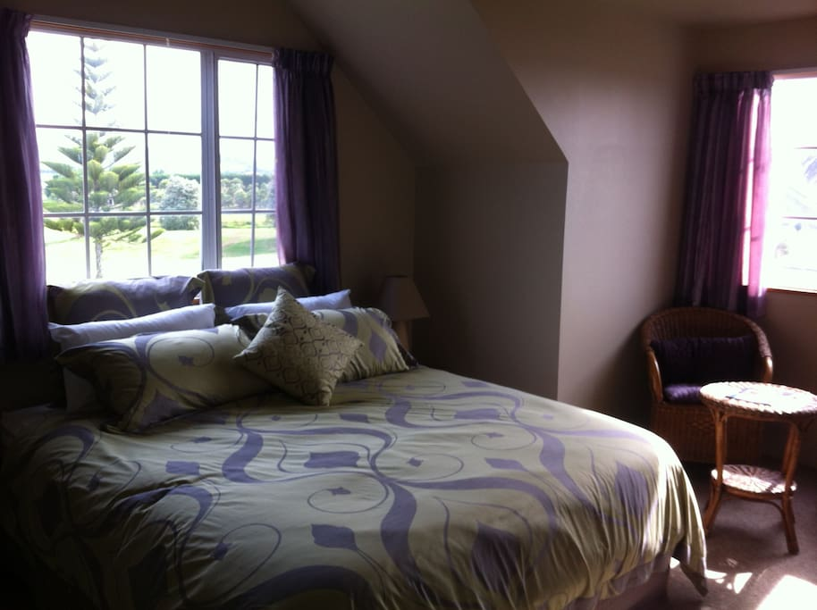 The Aubergine Room , king size Deluxe own ensuite- view of the Papamoa Hills